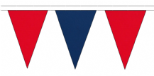 RED AND ROYAL BLUE TRIANGULAR BUNTING - 10m / 20m / 50m LENGTHS